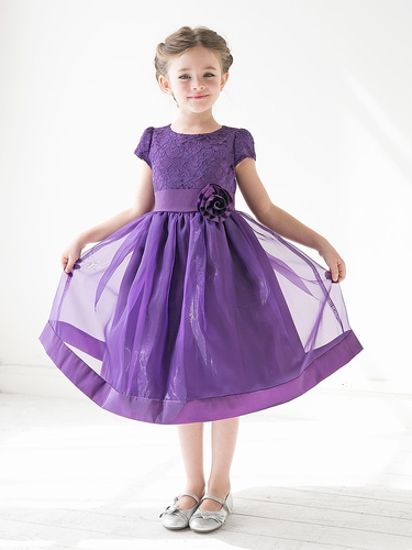 Purple Girls Floral Lace Bodice Organza Dress