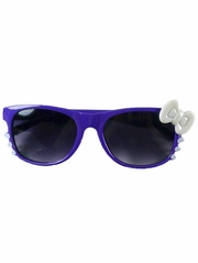 Purple Kids Smoke Gradient Polycarbonate Lens Sunglasses w/ White Bow