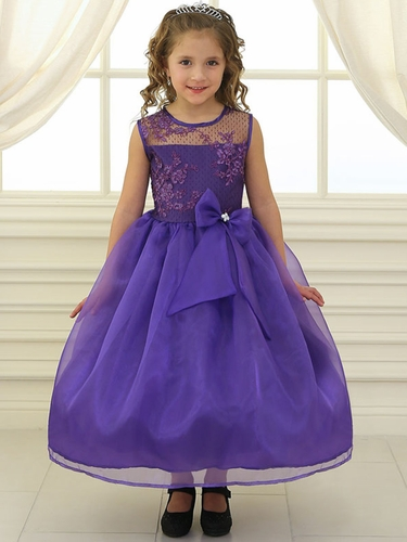 Purple Lace Flower Bodice Dress w/ Ribbon