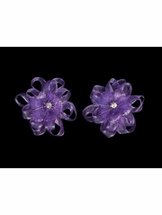Purple Organza Flower Hair Clip w/ Stone