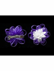 Purple Organza Hair Clip Set