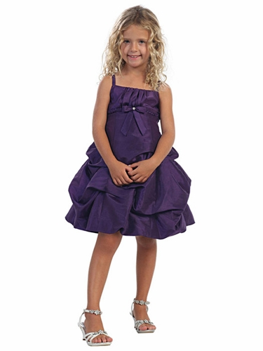 Purple Pick Up Style Taffeta Dress w/ Gathered Bodice & Bolero