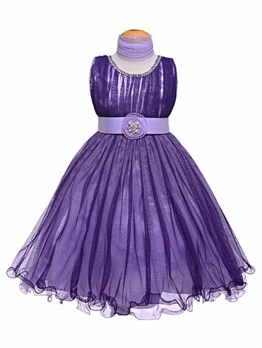 Purple Pleated Tulles & Jewels Dress