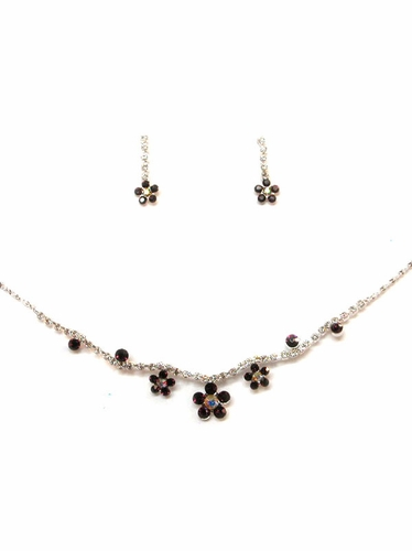Purple Rhinestone w/ Swarovski Crystal Earrings & Necklace Set