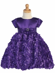 Purple Satin Bodice w/ Floral Ribboned Skirt