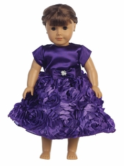 Purple Satin Bodice w/ Floral Ribboned Skirt 18� Doll Dress
