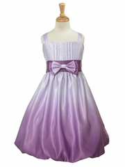 Purple Satin Ombre Bow Tie Dress