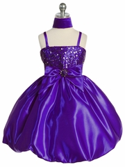 Purple Sequins Dress on Satin w/ Shawl