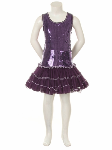 Purple Sequins Poly Mesh Tutu Mini Dress