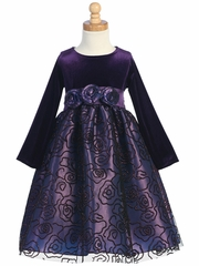 Purple Stretch Velvet Bodice w/Flocked Tulle Skirt