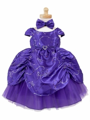 Purple Taffeta Embroidered Cinderella Baby Dress