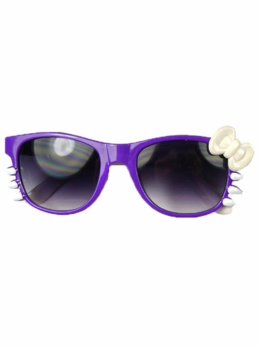 Purple/White Junior Smoke Gradient Polycarbonate Lens Sunglasses w/ Bow