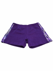 Purple Zebra Sequin Print Shorts