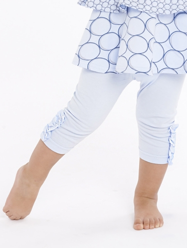 rabbitmoon Forget Me Not Blue Capri Legging w/ Cuff Ruching