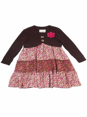 Rare Editions Brown Knit Shrug Floral Dress