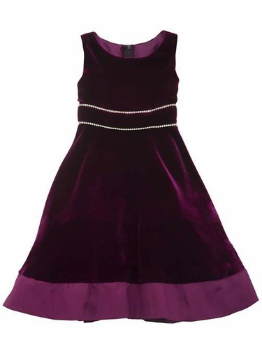 Rare Editions Burgundy Velvet Dress w/ Rhinestones