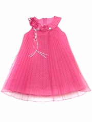 Rare Editions Fuchsia / White Flocked Dot Pleated Mesh Dress
