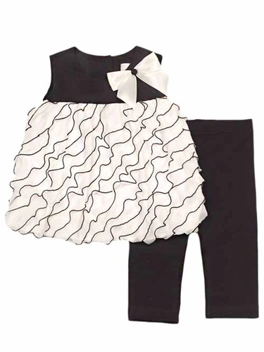 Rare Editions Ivory & Black Eyelash Ruffle Bubble Leggings Set