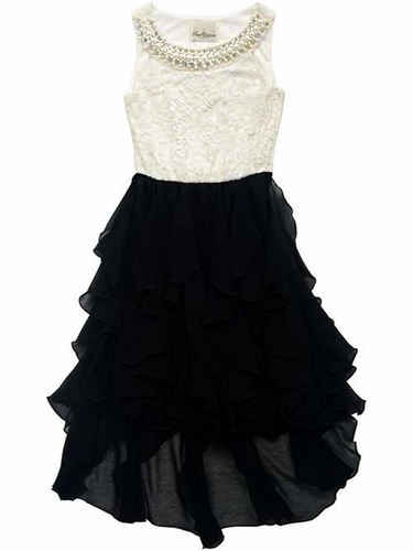 Rare Editions Ivory Lace Pearl Neckline Bodice w/ Black Chiffon Cascade High Low Dress