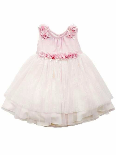 Rare Editions Light Pink Flower Knit w/ Ivory Mesh Lace Dress