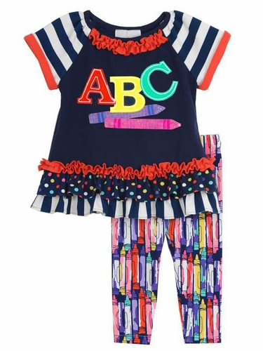 Rare Editions Navy ABC & Crayon Print Set