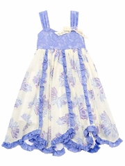 Rare Editions Periwinkle / Cream Butterfly Print w/ Lace Bodice Dress