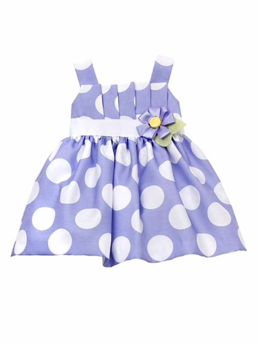 Rare Editions Periwinkle Shantung Dress w/ Polka Dots
