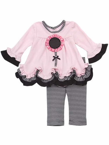 Rare Editions Pink & Black Knit Flower Legging Set