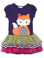 Rare Editions Purple Fox Multicolor Mesh Tutu Dress