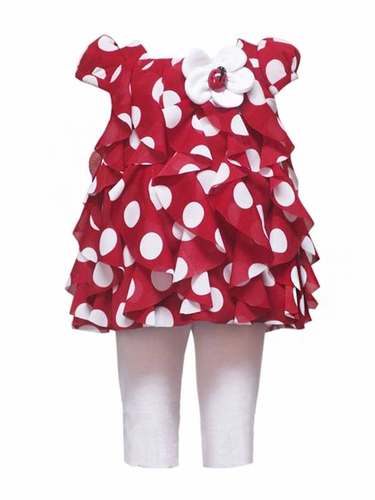 Rare Editions Red Ruffled Top w/ Polka Dots & Ladybug Set