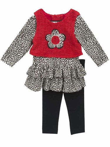 Rare Editions Red Vest w/ Cheetah Dress & Matching Leggings
