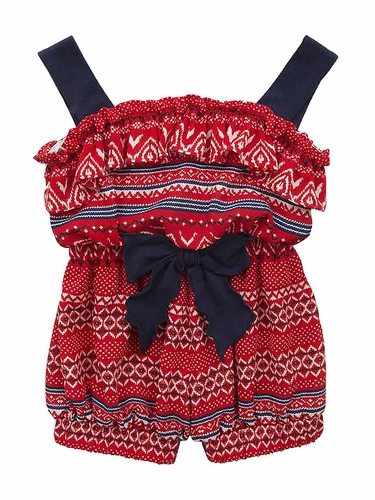Rare Editions Red White & Navy Georgette Romper