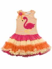 Rare Editions Stripe Flamingo Tutu Dress