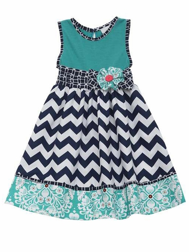 Rare Editions Turquoise Bodice w/ Navy & White Chevron Dress