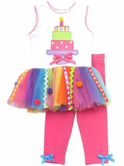 Rare Editions White/Fuchsia Birthday Tutu Set