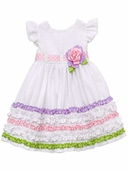 Rare Editions White Seersucker Multicolored Ruffles Dress