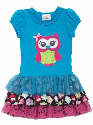 Rare Editions Turquoise Owl Multicolor Mesh Tutu Dress