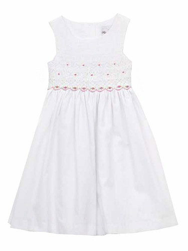 Rare Editions Woven White / Pink Smocked Bodice Dress