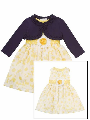 Rare Editions Yellow/White Floral Woven Dress w/ Shrug Set