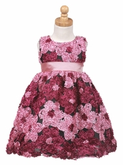 Raspberry Ribbon Embroidered Tulle Dress