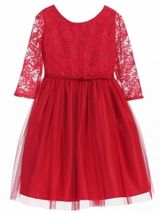 Red 3/4 Lace Sleeve Ballerina Dress
