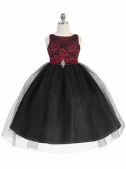 Red & Black Lace Bodice Tulle w/ Overlay Skirt