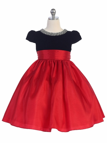 Red/Black Velvet & Taffeta Cap Sleeve Dress w/ Gem Neckline