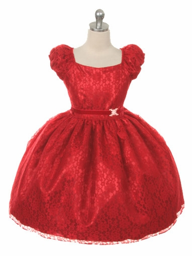 Red Cap Sleeve Lace Flower Girl Dress