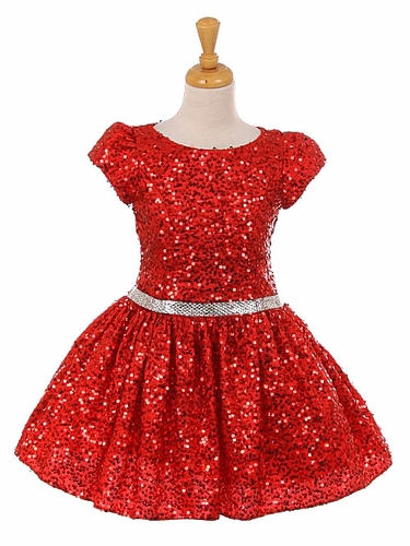Red Cap Sleeve Sequins Dress