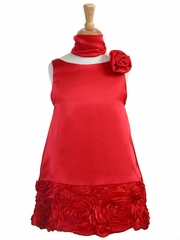 Red Charmeuse w/ Ribbon Embroidered Bottom and Pinned Flower