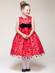Red Dress w/ Black Velvet Bow & Dots