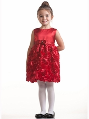 Red Dress w/ Satin Bodice & Floral Ribboned Skirt