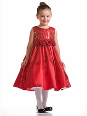 Red Dress w/ Sequined Bodice & Rosebud Waistline