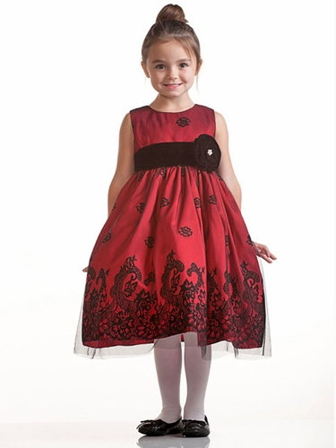 Red Flocked Taffeta Dress w/ Tulle Overlay